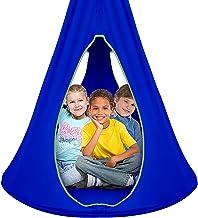 Sorbus Kids Nest Swing Chair Nook – Hanging Seat Hammock for Indoor Outdoor Use – Great for Children (40 Inch, Nest Blue)