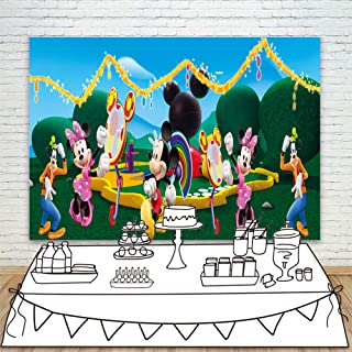 Background Backdrop 7x5ft Cartoon Wonderland Mickey Mouse Clubhouse Photo Backgrounds Vinyl Seamless Photo Backdrop Paper for Happy Birthday Party Kids Photos
