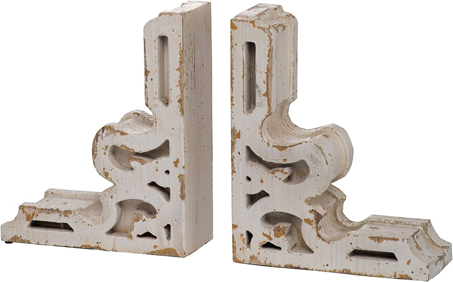 Low price A B Home White Decorative Distressed Farmhous Max 79% OFF Bookends Vintage