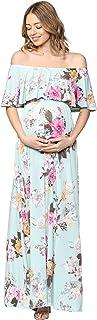 HELLO MIZ Women's Ruffle Off The Shoulder Maxi Maternity Dress - Made in USA