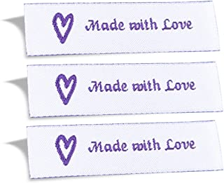 Wunderlabel Made with Love Crafting Craft Art Fashion Woven Ribbon Ribbons Tag for Clothing Sewing Sew on Clothes Garment Fabric Material Embroidered Label Labels Tags, Purple on White, 50 Labels