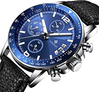 Mens Watches Multifunctional Automatic Chronograph Stainless Steel Analog Quartz Sports Luminous 30m Swimming Waterproof Calendar Wrist Watches for Men