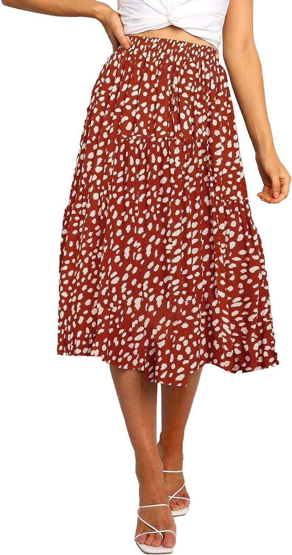 Buy MEROKEETY Women's Boho Leopard Print Skirt Pleated A Line ...