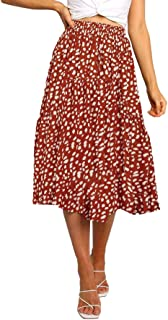 Womens Elastic High Waist Leopard Print Polka Dot A-Line...