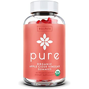 Pure Apple Cider Vinegar Gummies - U.S.D.A. Organic Certified A.C.V. Gummies - No Artificial Sweeteners - with Raw, Organic Apple Cider Vinegar with The Mother - Detox, Cleanse Support - 60 Ct