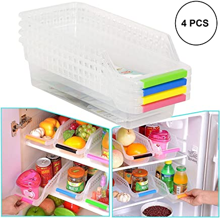 Orpio (Lable) Plastic Kitchen Refrigerator Food Storage Box Organizer for Fridge Freezer Vegetables and Fruit Storage Container (Transparent, Pack of 4)