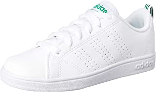 adidas Australia Boys VS Advantage CL Trainers, Footwear White/Footwear White/Green, 13.5 US