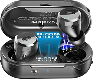 TOZO T12 Wireless Earbuds Bluetooth Headphones with Touch Control and Wireless Charging Case Digital Intelligence LED Display IPX8 Waterproof Earphones Built-in Mic Headset Deep Bass for Sport Black