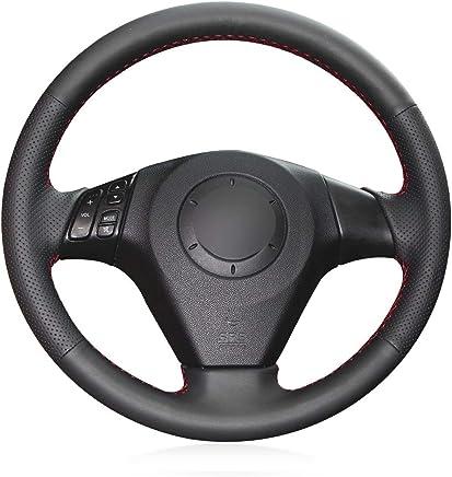 Shining wheat Funda para Volante de Coche de Cuero Artificial Negro Brillante para Mazda 3 Axela