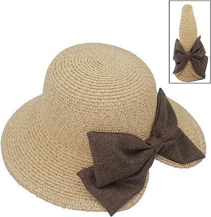 0ed528bd1f6 Roffatide Women s Sun Hat with Big Bowknot Wide Brim Staw Hat Beach Cap  Summer Foldable