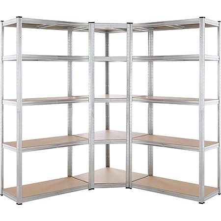 Lot de 3 étagères charges lourdes acier et MDF 15 plateaux modulable max 875kg par étagère d'angle garage atelier outils
