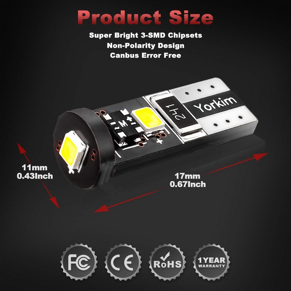 Amazon Com Yorkim 194 Led Bulb Canbus Error Free 3 Smd 2835 Chipsets T10 Interior Led For Car Dome Map Door Courtesy License Plate Trunk Lights With 194 168 W5w 2825 Sockets Pack Of 10 White Automotive