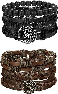 MILACOLATO 8-16pcs Mens Leather Bracelet Wrap Cuff Bracelets with Hemp Cords Wood Beads Ethnic Tribal Believe Charm