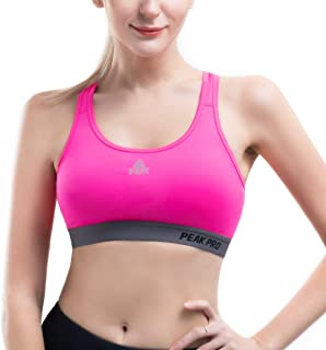 PEAK Womens Racerback Sports Bras, High Impact Seamless Gym Activewear Bra, Padded Removable Home Workout Yoga Bras Rose Red