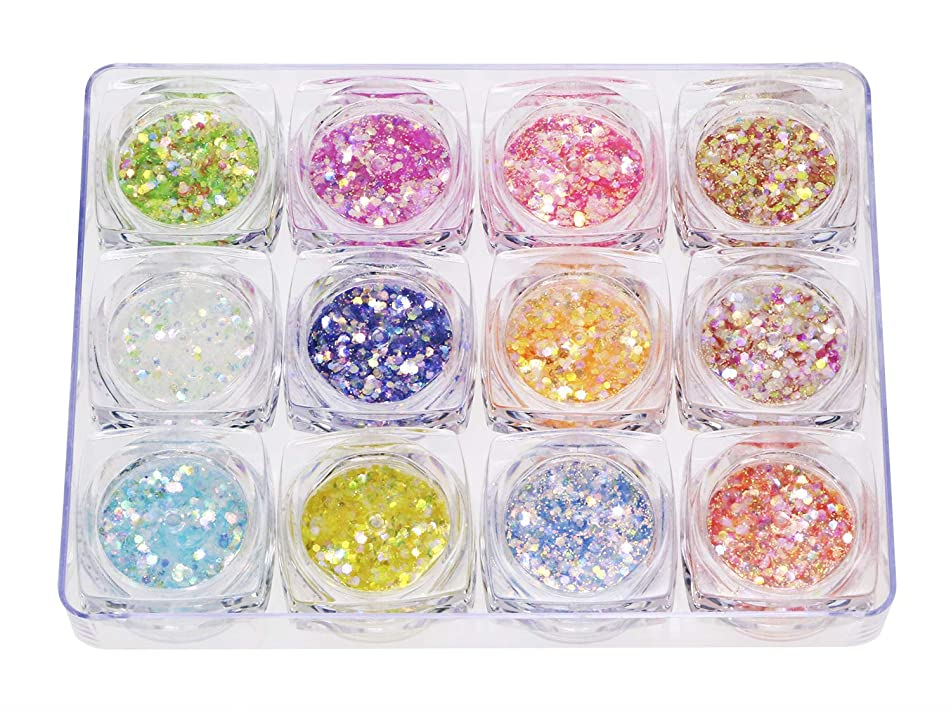 Penta Angel 12 Boxes Makeup Chunky Glitter Sequins Nail Art Iridescent Flakes Mixed Cosmetic Paillette Tips Dust Powder for Eye Shadow Body Face Lip Hair Party Festival Decoration (Candy Color)