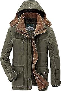 معطف رجالي شتوي دافئ من Flygo مبطن بنسيج الشيربا، مع قلنسوة قابلة للإزالة