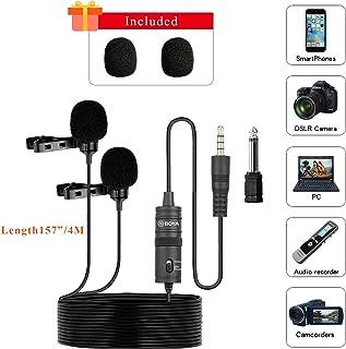 BOYA BY-M1DM Micrófonos lavalier dobles, Micrófono de solapa de condensador omnidireccional para cámara, DSLR, iPhone, Android, Samsung, Huawei, Sony