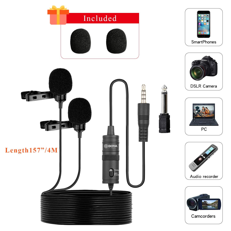 BOYA BY-M1DM Micrófonos lavalier dobles, Micrófono de solapa de condensador omnidireccional para cámara, DSLR, iPhone, Android, Samsung, Huawei, Sony: Amazon.es: Electrónica