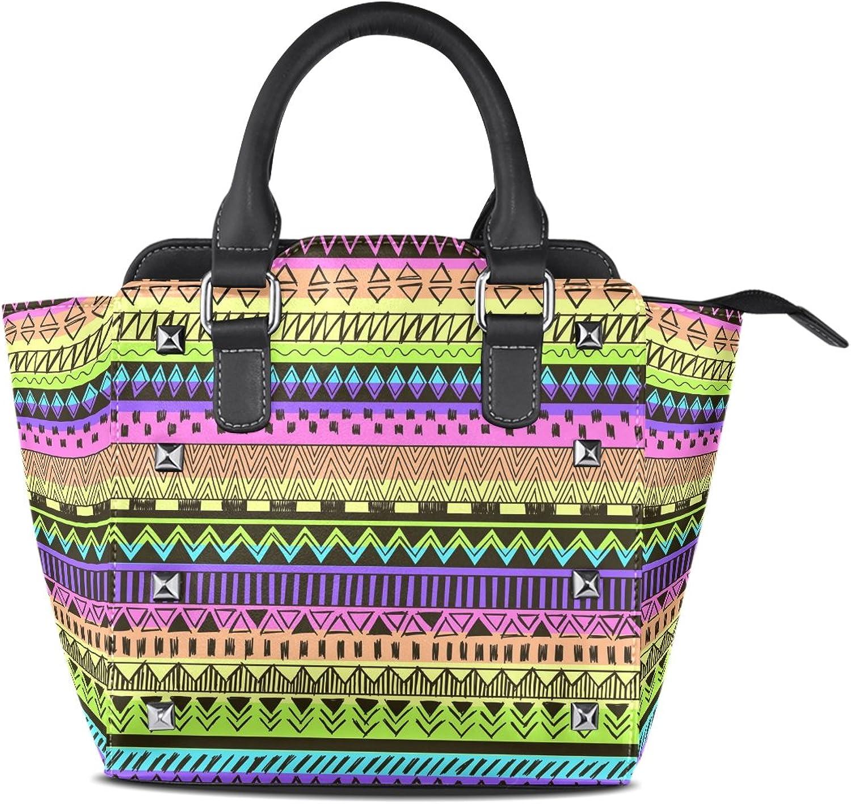 My Little Nest Women's Top Handle Satchel Handbag Rainbow Multicolor Tribal Pattern Ladies PU Leather Shoulder Bag Crossbody Bag
