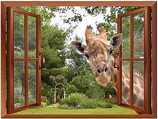 wall26 A Curious Giraffe Sticking its Head into an Open Window Removable Wall Sticker/Wall Mural - 36