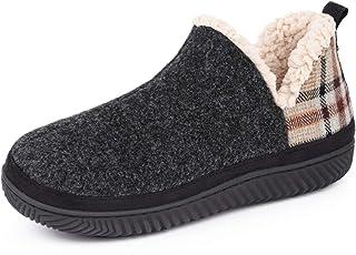 HomeTop Women's Fuzzy Wool-Like Memory Foam Bootie Slippers with Sherpa Lining