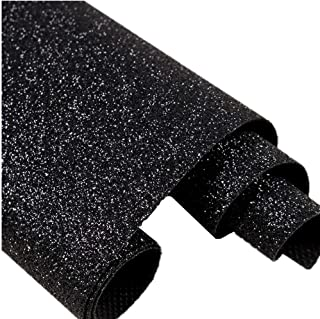 DHHOUSE Black Glitter Wallpaper,Sparkly Glitter Fabric Wall Paper, 27in by 197in Bling Wallcovering