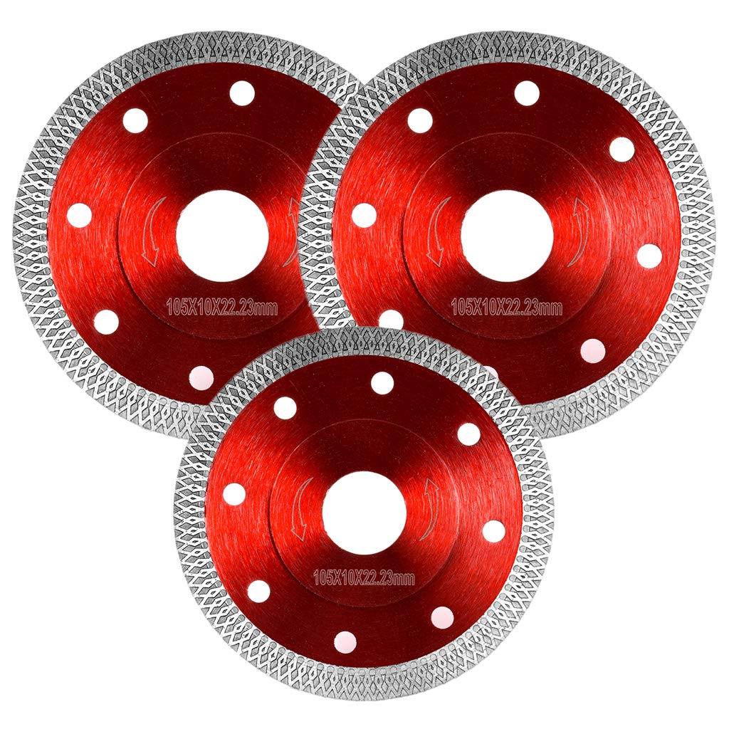 Mangsen 3 Pack 4 Inch Super Thin Diamond Tile Blade For Cutting Porcelain Tiles Granite Marble Ceramics Works With Tile Saw And Angle Grinder (Red)