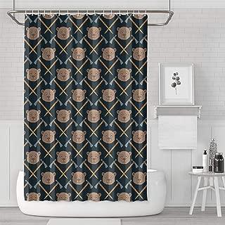 Kenlpous Ax Baby Bear Hair Shower Curtain Bath Curtain Set Polyester Cloth Cool Pattern Soft Decorative Space Bathroom Curtain 70.9 X 70.9 Inch
