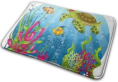 "Turtle and Fish in The Sea Doormat Non Slip Indoor/Outdoor Door Mat Floor Mat Home Decor, Entrance Rug Rubber Backing Large 23.6""(L) x 15.8""(W)"