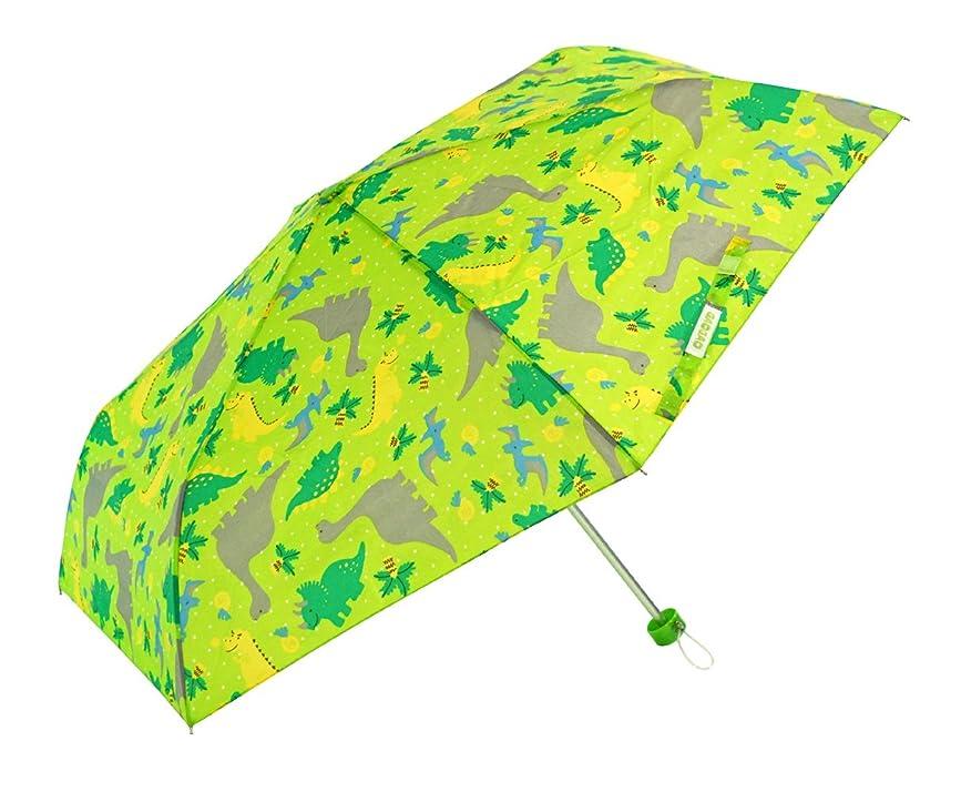 故国汚染キリマンジャロアテイン KIDS用 軽量楽々3段折畳傘 親骨50cm きょうりゅう 黄緑 5156