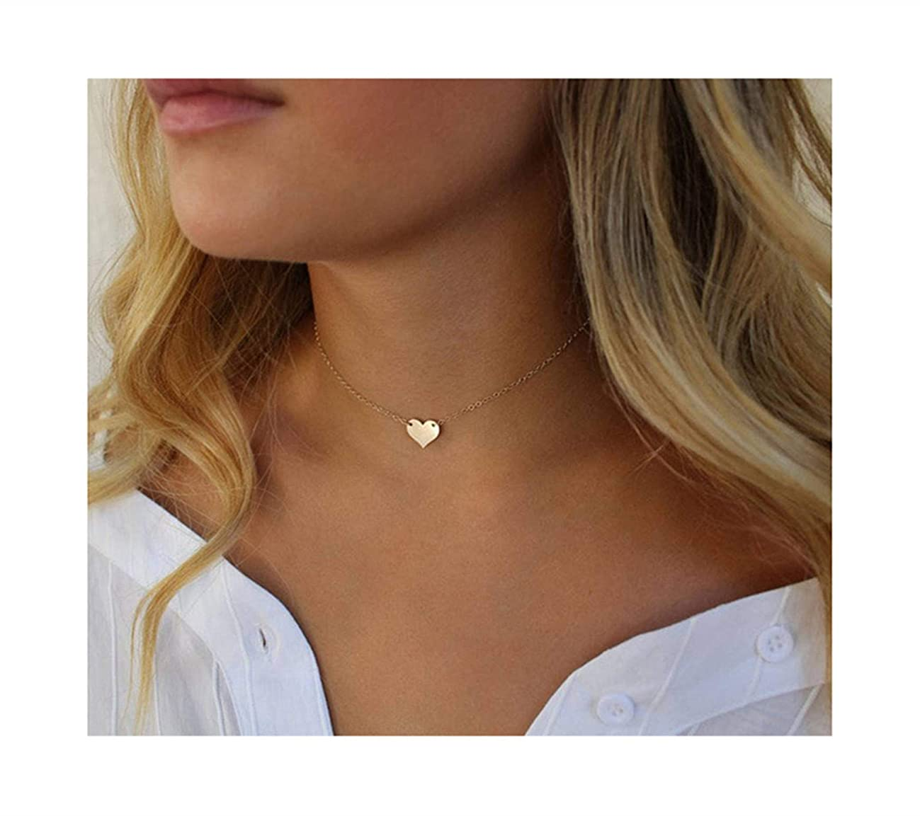 S.J JEWELRY Fremttly Womens Simple Delicate Handmade 14K Gold Filled/Rose Gold/Silver Simple Delicate Heart and Bar Chokers Necklace