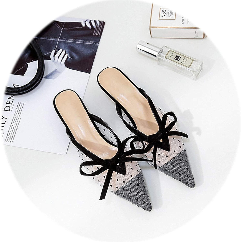 Gooding life Kitten Heel Women Mules Pointed Toe Bowite High Heel Women Pumps Elegant Women Office shoes