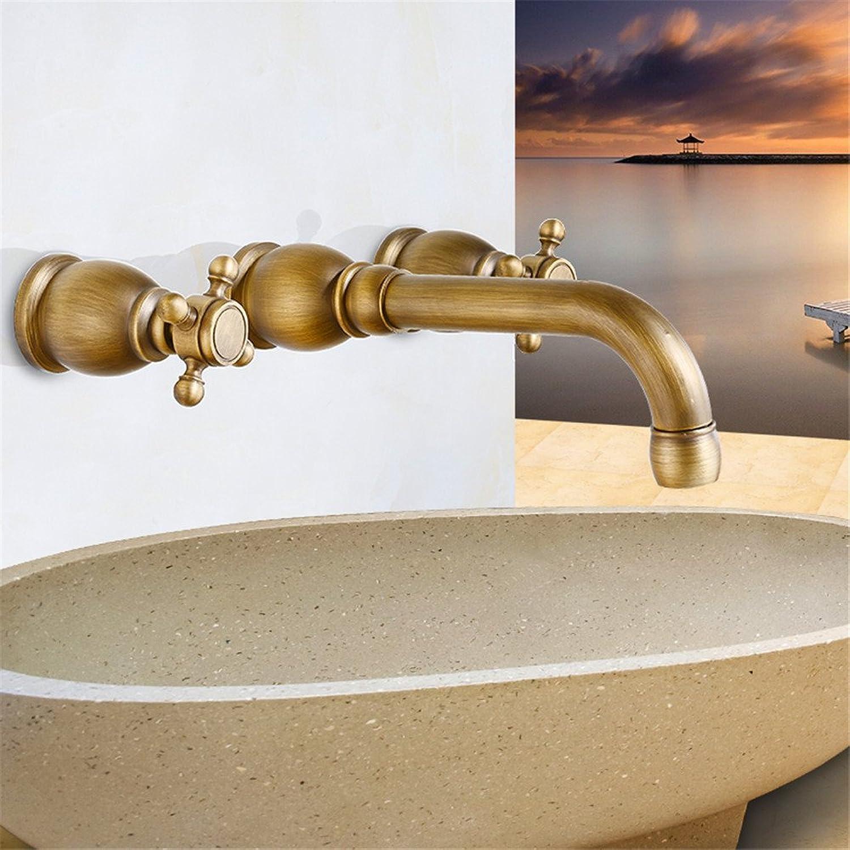 ETERNAL QUALITY Bad Waschbecken Wasserhahn Küche Waschbecken Wasserhahn Vollkupfer In Die Wand Dreiteilige Drehbare Badewanne Retro Drei Lcher Waschtischmischer BQ615ca
