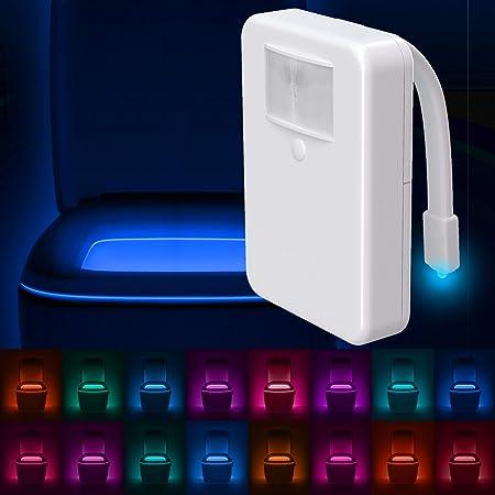 LumiLux Toilet Light with Motion Detection Sensor - 16-Color LED Bathroom Toilet Bowl Light (White)