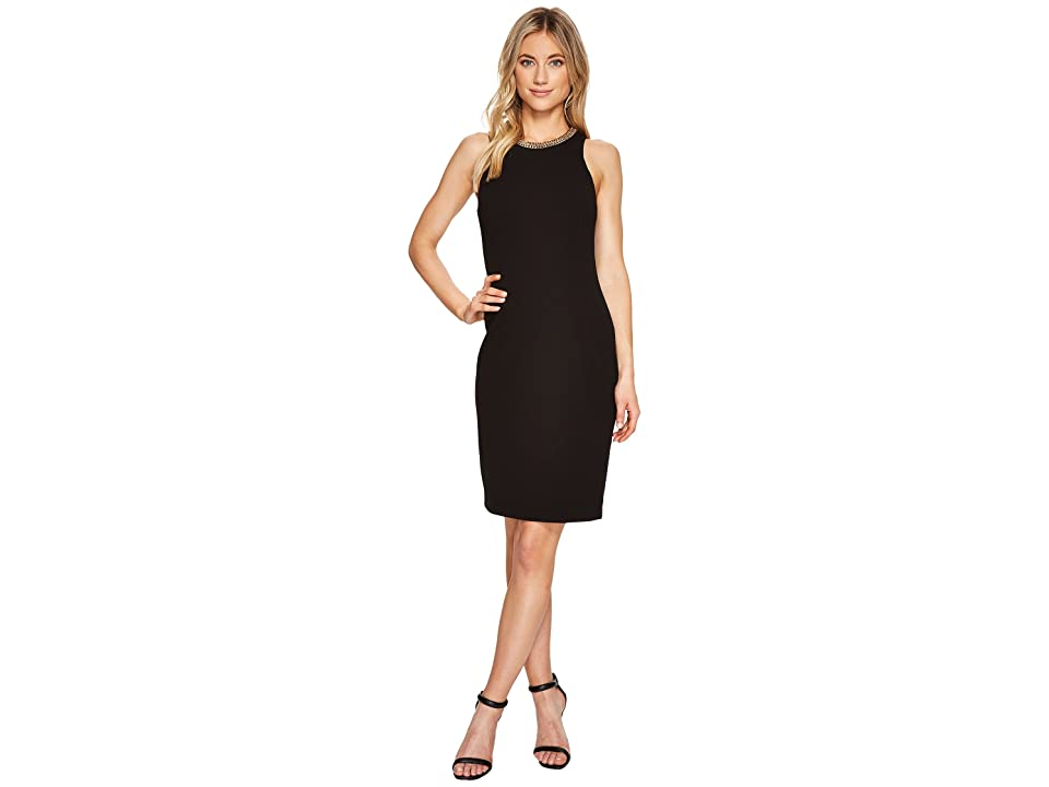 Calvin Klein Chain Detail Neck Sheath Dress CD7C11CH (Black) Women
