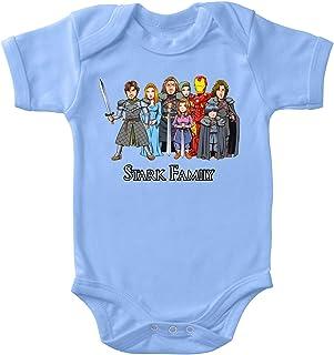 OKIWOKI Iron Man - Game of Thrones Lustiges Blau Kurzärmeliger Baby-Bodysuit Jungen - Eddard, Catelyn, Robb, Sansa, Arya, Brian, Rickon und Tony Stark Iron Man - Game of Thrones Parodie signiert Oki