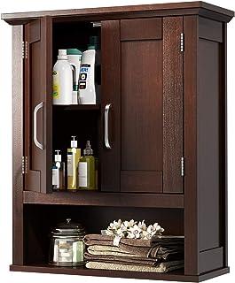 JustRoomy Home Bathroom Wall Mount Cabinet Wooden Medicine Cabinet Storage Organizer with 2 Door, Adjustable Shelf Open St...