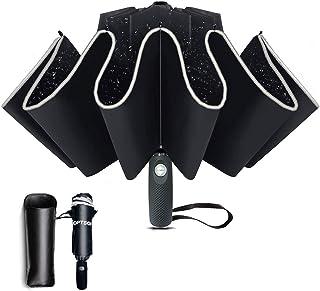 12 côtes Parapluie Automatique inversé Parapluie Coupe-Vent Pliant avec revêtement en téflon et Bande réfléchissante, Para...