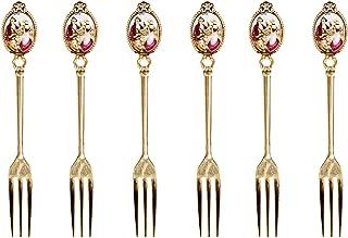 Gold Flatware Set 24K Plated Demi Dessert Forks 'Madonna', Old World Vintage Antique Design Silverware, Set of 6 x 6