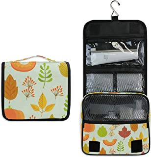 Autumn Leaves Pattern Hanging Travel Toiletry Bag for Women Men   Hygiene Bag   Bathroom and Shower Organizer for Toiletries, Cosmetics, Makeup, Brushes