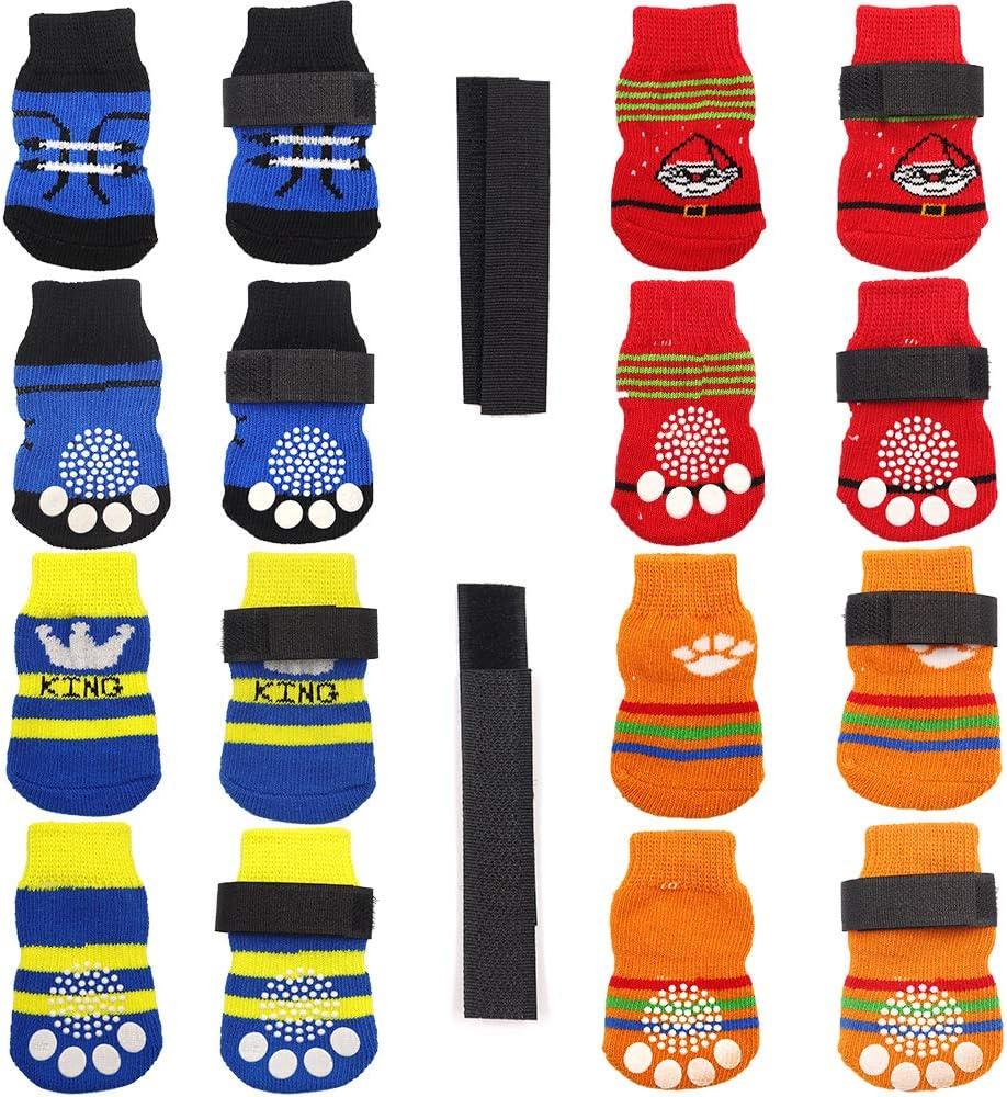 N/A/ 4 pares de calcetines antideslizantes para perro, suela de goma suave con correas ajustables, control de tracción para cachorros y gatos en interiores en madera dura para el suelo (L)