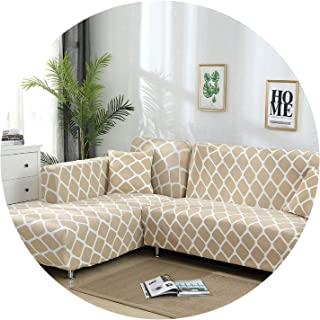 Elastic Sofa Cover Cotton It Needs Order 2 Pieces Covers for L-Shape Corner Sectional Sofa Cover for Living Room Solid Color,Color 21,2-Seater 145-185cm