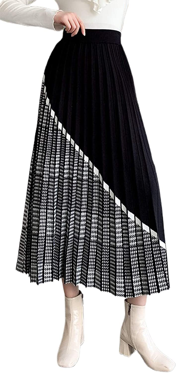 CHARTOU Women's Elastic Waist Houndstooth Plaid Contrast Pleated A-Line Knitted Skirt