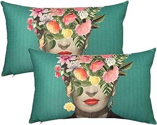 Mulzeart Frida Kahlo with Floral & Bird Rectangle Throw Pillow Covers,Lumbar Small Decorative Throw Pillow Case,Cushion 12x20Inch,Set of 2,Linen/Cotton