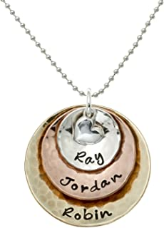 My Three Treasures Personalized Charm Necklace with 925 silver, Gold and Rose Gold Plated discs. Customized with any Words or Names of your choice. Gifts for Her, Mother, Grandmother, Wife