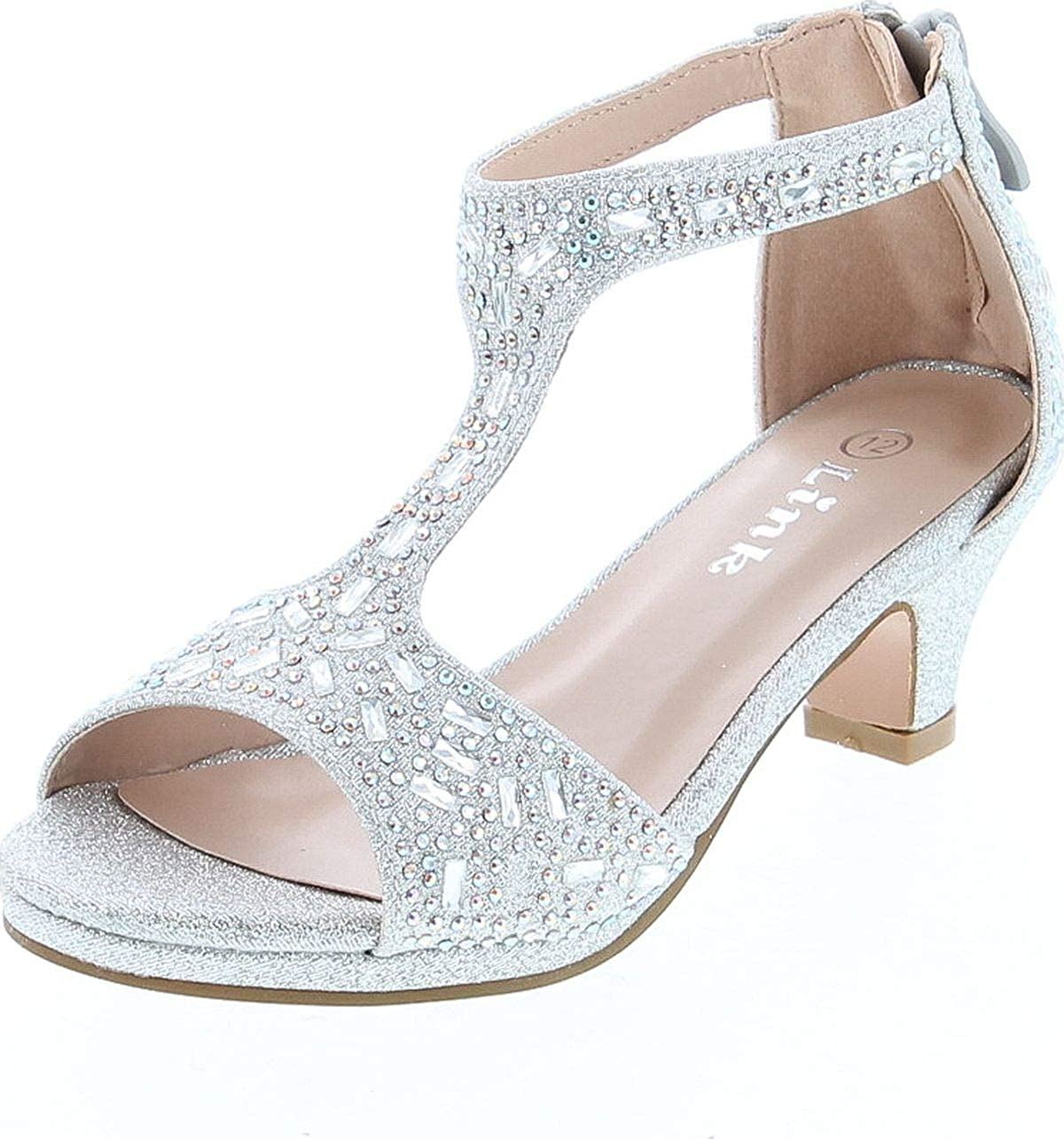 Link Excited-95K Girl's Glitter Rhinestone T-Strap Back Zipper Wrapped Heel Sandals