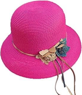 Straw Hat Beach Hat Round Cap Summer Shade Sunscreen Ladies Caps(Rose Red)