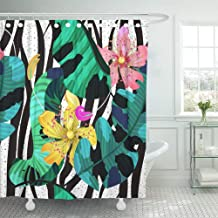 IrYuee Custom Black Summer Tropical Flowers Banana Leaves and Zebra Lines Bright Pink Yellow and Green Colors Shower Curtain 60x72 inch