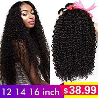 CLAROLAIR Brazilian Kinky Curly Hair Unprocessed Brazilian Virgin Human Hair Weave Extensions Brazilian Unprocessed Virgin Kinky Curly 3pcs/Pack Natural Color (100+/-5g)/pc (12 14 16inch)