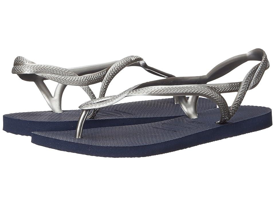 Havaianas Luna Flip Flops (Navy Blue/Silver) Women